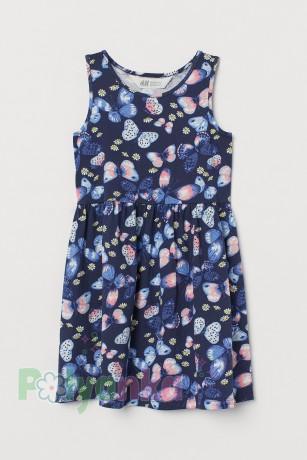 H&M Сарафан для девочки синий с бабочками и ромашками - Картинка 1