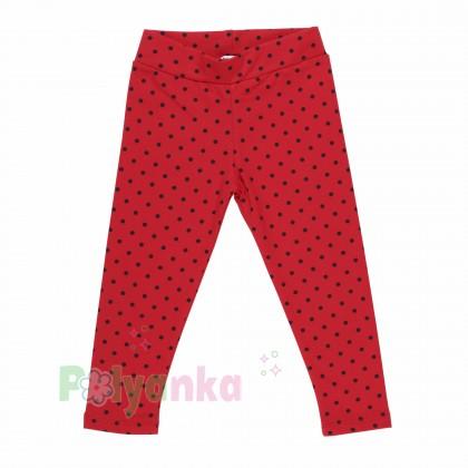 Wanex Леггинсы для девочки красные в чёрный горох с начёсом - Картинка 1