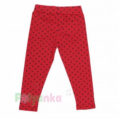 Wanex Леггинсы для девочки красные в чёрный горох с начёсом - Картинка 2