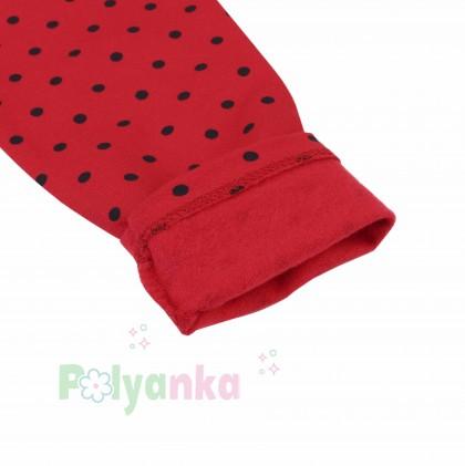 Wanex Леггинсы для девочки красные в чёрный горох с начёсом - Картинка 3