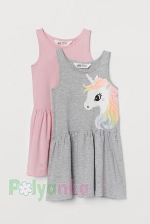 H&M Комплект сарафанов детский серый с единорогом и розовый - Картинка 1
