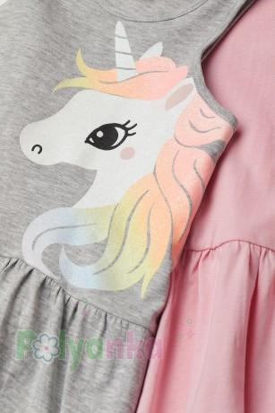 H&M Комплект сарафанов детский серый с единорогом и розовый - Картинка 2