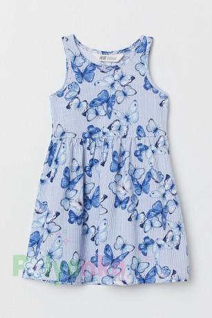 H&M Сарафан детский голубой в бабочках - Картинка 1