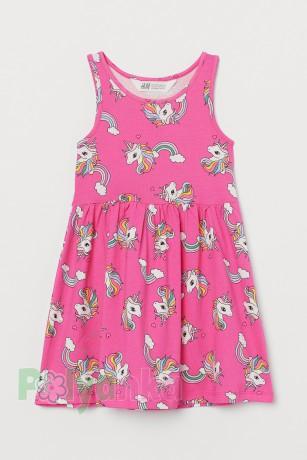 H&M Сарафан детский розовый с единорогами - Картинка 1