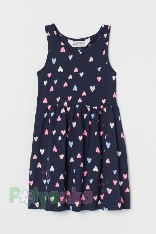 H&M Сарафан для девочки синий в сердечках - Картинка 1