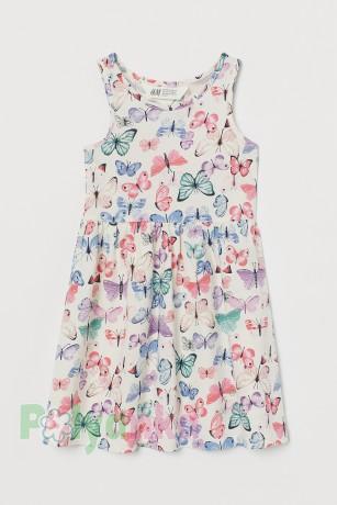 H&M Сарафан для девочки белый с бабочками - Картинка 1