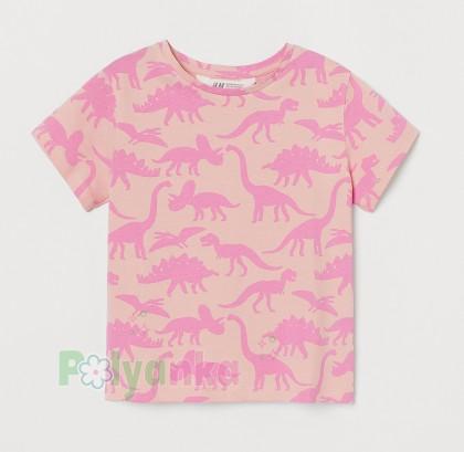H&M Футболка детская розовая с динозаврами - Картинка 1