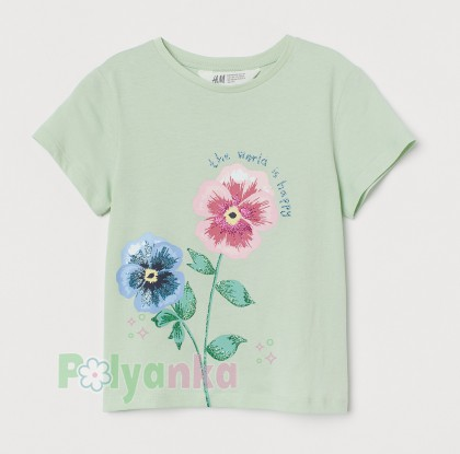 H&M Футболка детская зелёная с цветком - Картинка 1