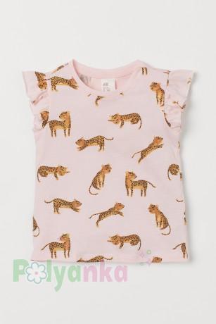H&M Футболка для девочки розовая с леопардами - Картинка 1
