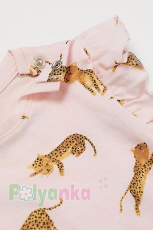 H&M Футболка для девочки розовая с леопардами - Картинка 2