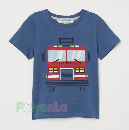 H&M Футболка детская голубая с пожарной машиной - Картинка 1
