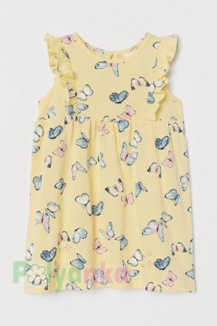 H&M Хлопковое платье для малышки жёлтое с бабочками - Картинка 1