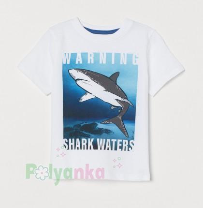 H&M Футболка для мальчика с акулой белая - Картинка 1