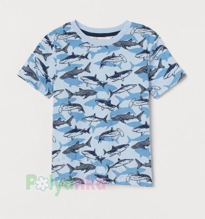 H&M Футболка для мальчика голубая с акулами - Картинка 1