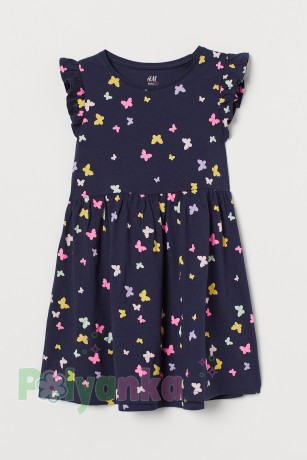 H&M Сарафан для девочки синий с бабочками - Картинка 1