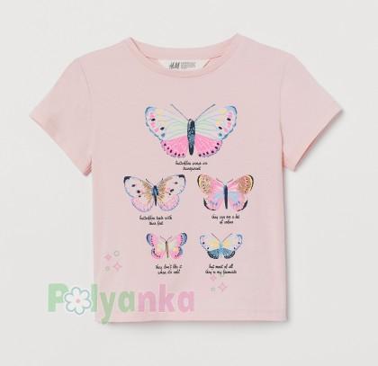 H&M Футболка для девочки розовая с бабочками - Картинка 1