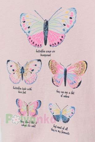 H&M Футболка для девочки розовая с бабочками - Картинка 2