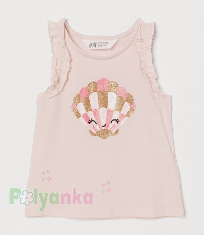 H&M Майка для девочки розовая с ракушкой - Картинка 1