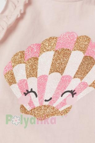 H&M Майка для девочки розовая с ракушкой - Картинка 2