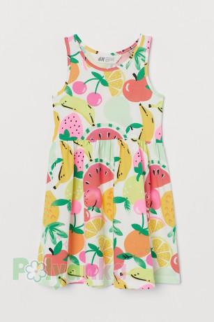 H&M Сарафан для девочки белый с фруктами и ягодами - Картинка 1
