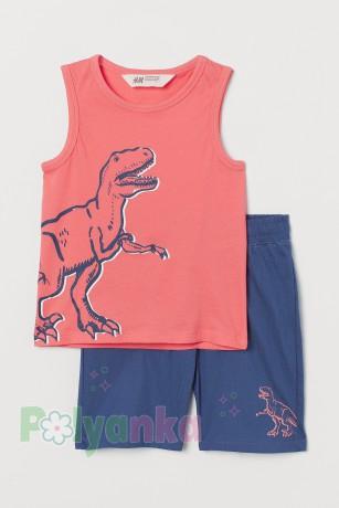 """H&M Комплект для мальчика майка с шортами """"Динозавр"""" - Картинка 1"""