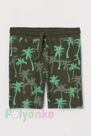H&M Шорты детские темно зелёные с пальмами - Картинка 1