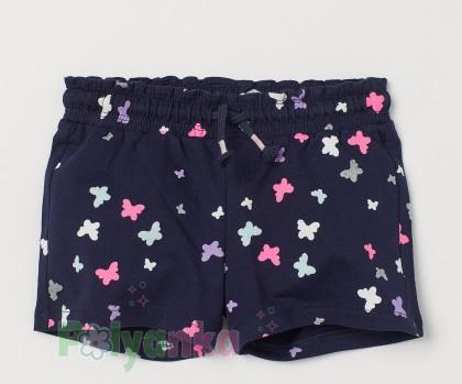 H&M Шорты для девочки синие с бабочками - Картинка 1