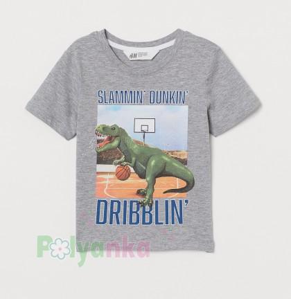 H&M Футболка для мальчика с динозаврам серая - Картинка 1