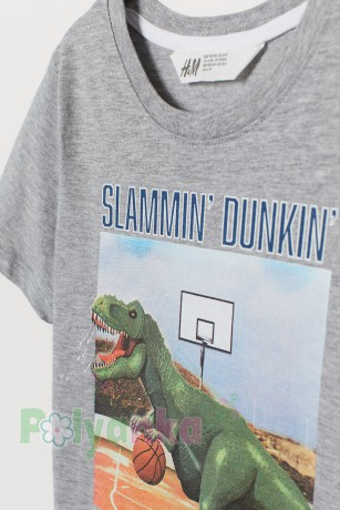H&M Футболка для мальчика с динозаврам серая - Картинка 2