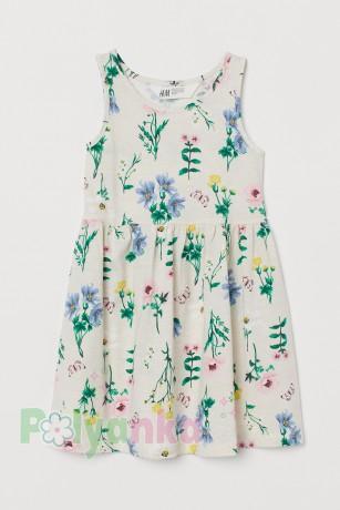 H&M Сарафан для девочки бежевый с растительным принтом - Картинка 1