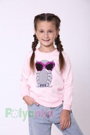 Wanex Свитшот для девочки светло-розовый тёплый с пайетками-перевёртышами в виде совы - Картинка 1