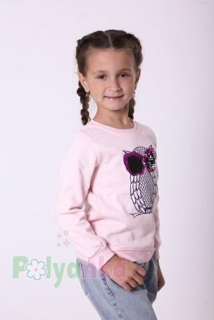 Wanex Свитшот для девочки светло-розовый тёплый с пайетками-перевёртышами в виде совы - Картинка 2