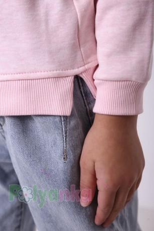 Wanex Свитшот для девочки светло-розовый тёплый с пайетками-перевёртышами в виде совы - Картинка 4