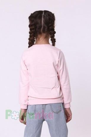 Wanex Свитшот для девочки светло-розовый тёплый с пайетками-перевёртышами в виде совы - Картинка 5