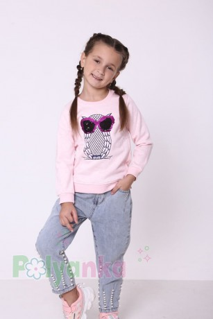Wanex Свитшот для девочки светло-розовый тёплый с пайетками-перевёртышами в виде совы - Картинка 6