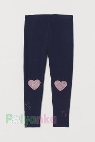 H&M Леггинсы для девочек синие с сердечками на коленях - Картинка 1