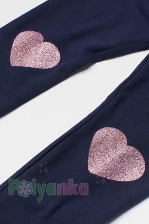 H&M Леггинсы для девочек синие с сердечками на коленях - Картинка 2