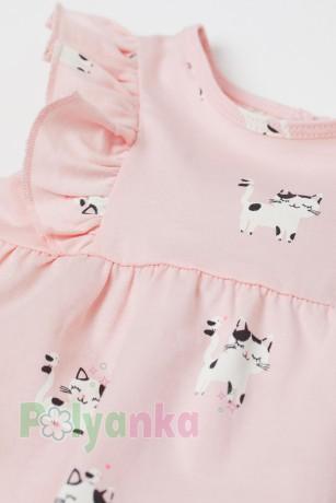 H&M Летнее платье для малышки розовое с кошечками - Картинка 2