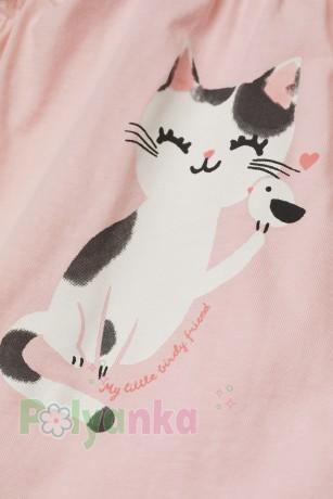 H&M Майка розовая с кошкой - Картинка 2