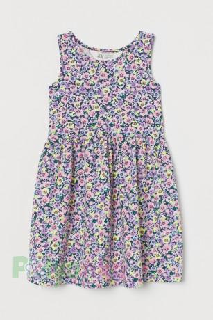 H&M Сарафан для девочки синий с цветами - Картинка 1