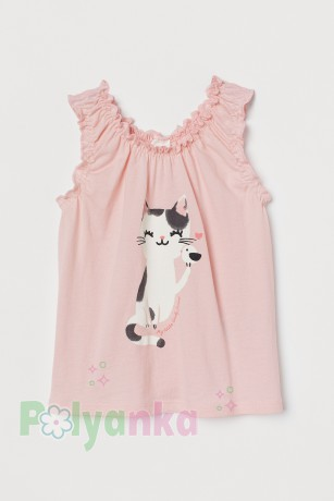 H&M Майка для девочки розовая скошкой - Картинка 1