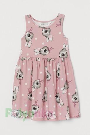 H&M Сарафан детский розовый с зайцами - Картинка 1