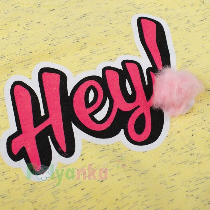 "Wanex Свитшот для девочки жёлтый ""HEY"" - Картинка 2"