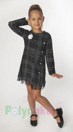 Wanex Платье с длинным рукавом для девочки в клетку серо-черное - Картинка 1