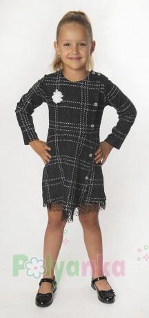 Wanex Платье с длинным рукавом для девочки в клетку серо-черное - Картинка 2