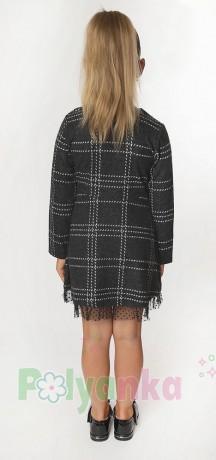Wanex Платье с длинным рукавом для девочки в клетку серо-черное - Картинка 4