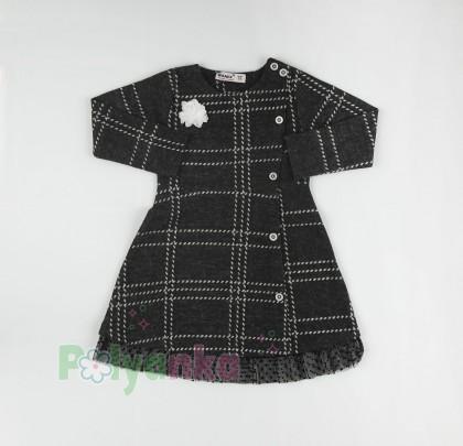 Wanex Платье с длинным рукавом для девочки в клетку серо-черное - Картинка 5