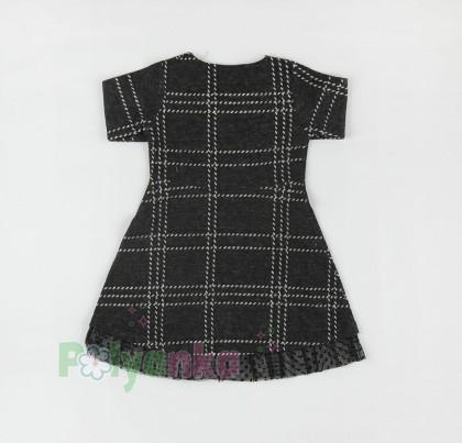 Wanex Платье с длинным рукавом для девочки в клетку серо-черное - Картинка 6