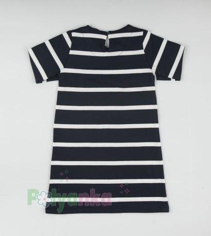 Wanex Платье с длинным рукавом для девочки в полоску бело-синее с пайетками - Картинка 5