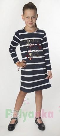 Wanex Платье с длинным рукавом для девочки в полоску бело-синее с пайетками - Картинка 1